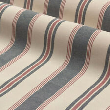Coventry Stripe Navy | Natural 100% Cotton Romo Style Fabric Curtains Upholstery