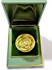 MUSTARD YELLOW CONTEMPORARY NEW OLD STOCK CARVED ROSE RING LARGE CHUNKY PLASTIC