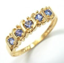 GORGEOUS 9KT YELLOW GOLD 5 STONES TANZANITE RING SIZE 7  R1090