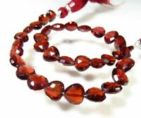 NATURAL RED MOZAMBIQUE GARNET HEART FACETED BRIOLETTE BEADS 6 - 7.5 mm. GEMSTONE