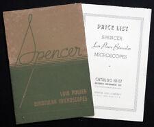 New listing 1937 Original Spencer Lens Co Vintage Binocular Microscope Catalog & Price List