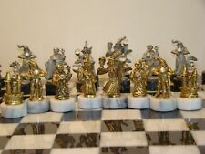 Spoonliques Pewter  Marble Base Crystal Wizards Fantasy Chess Set.