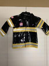 343 Firechief Fireman Rain Coat Black With Yellow & Reflective Size 2T