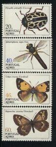 BUTTERFLIES, MNH Scott, # 349-52   PORTUGAL, AZORES