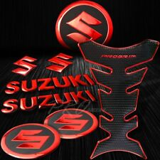 "Chromed Red Pro Fuel Tank Pad+8""3D Suzuki Logo+Letter Emblem+2""Badge Sticker Kit"