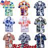 Men's Floral Holiday Summer Sea Short Sleeve Hawaiian Beach T-shirt Blouse Tops