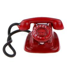 Dolls House Miniature Retro Vintage Desk Phone Telephone Rotary Dial Red