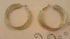 Awesome Yellow Gold Plated Round Hoop Earrings