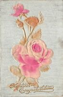 Heartfelt Congratulations Embossed Roses Antique Postcard Unposted Stamp Writing