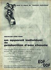 Publicité Advertising 089  1961  EDF GDF  production eau chaude  appareil indivi