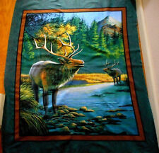 Fabric Panel Hanging By The Yard Elk Nature Mountain Sky Quilting Cotton