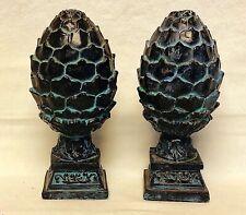 "Pair 8"" Vintage Rustic Black & Patina Plaster Artichoke Finials Garden Accent"