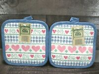 Country Gingham Heart Hot Pad Pot Holder Blue Pink Buttermilk Farms Vintage 80s
