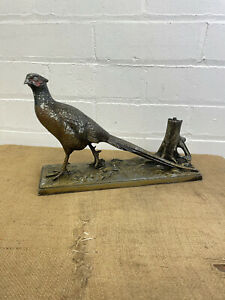 Antique Austrian Cold Painted Spelter Hunting Pheasant Bird Table Cigar Lighter