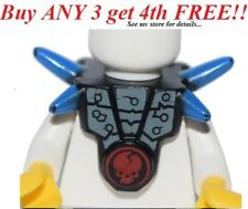☀️NEW LEGO Armor Breastplate Shoulder Spikes Blue Ninjago Cracked Red Skull logo