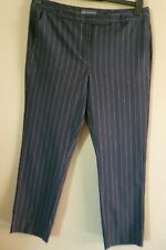 M&S Navy Blue Striped Trousers Size 14 Short Leg 26""