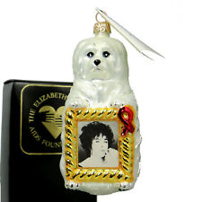 Christopher Radko Liz Taylor Sugar Holiday Aids Chairty Dog Ornament New Box/Tag
