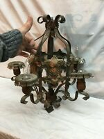 Vtg  Art Deco 5 Light Cast Iron Hanging  Chandelier 19in x 19in Tested Working
