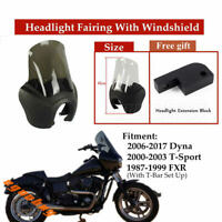 Front Outer Headlight Headlamp Fairing With Smoky Windshield For Harley Dyna FXD