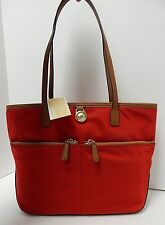 New Michael Kors Kempton Red Nylon Brown Leather Tote Shoulder Bag nwt
