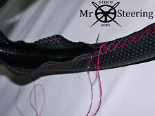 FOR VAUXHALL FIRENZA PERFORATED LEATHER STEERING WHEEL COVER HOT PINK DOUBLE STT