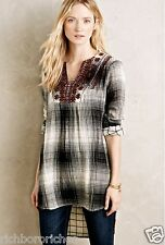 NEW Anthropologie Floreat Embroidered Flannel Tunic black white gauzy XS