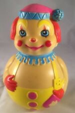 """1972 The First Years Kiddie Products Plastic Roly Poly Musical Clown Toy 6 1/4"""""""