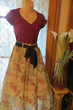 VINTAGE Style 50'S ~ Burgundy TOP/SKIRT/BELT COMBO * Size 8 * ROCKABILLY !!