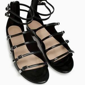ZARA LEATHER ANKLE STRAPPY SANDAL SIZE EU 41 US 10 UK 8 BLACK Brand New in Box
