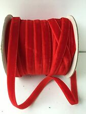 3/8 Inch Velvet Woven Ribbon - May Arts - PV14 - Red - 5 yards
