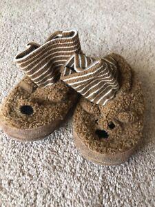 TEDDY BEAR SLIPPERS ~ Size Toddler 7 8 Medium