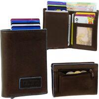 FIGURETTA Aluminium RFID Kartenetui Münzfach Geldbeutel Geldbörse Leder Vintage