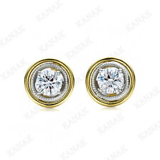 1.50 ct Round cut Diamond 10k Two-tone Gold Stud Earrings for Women's