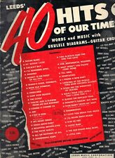 Vintage 40 Hits Of Our Time Ukulele & Guitar Tabs Music Lessons 1952