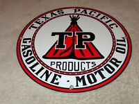 "VINTAGE TEXAS PACIFIC MOTOR OIL 11 3/4"" PORCELAIN METAL GASOLINE SIGN PUMP PLATE"