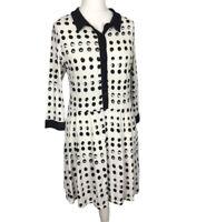 Next Size 14 Long Sleeve Drop Waist Collared Black & White Polka Dot Dress