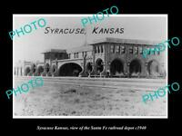 OLD LARGE HISTORIC PHOTO OF SYRACUSE KANSAS, THE SANTA FE RAILROAD DEPOT c1940