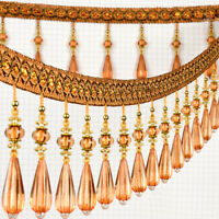 Crystal Beaded Fringe Upholstery Curtain Sewing Tassel Trim Decorative Ribbon 1M