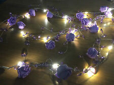 CraftbuddyUS 2m Purple Wired Rose &Crystal GarlandSpray Floral LED HangingDecora