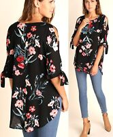 Umgee Top Size XL S M L Floral Black Cold Shoulder Tunic Womens Boutique New