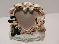 Disney Parks Mickey Mouse and Minnie Mouse Wedding Picture Frame Bride Groom.