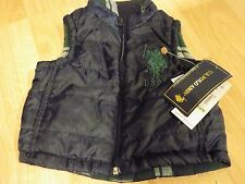 Size 3-6 Months US POLO Assn Reversible Flannel Vest Navy Blue Green Plaid New