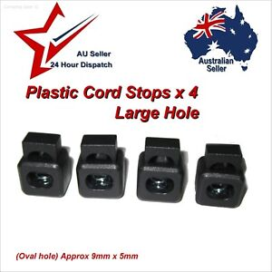 Toggle Lock Square Cord Stoppers x 4 Large Single Hole 9x5mm    paracord toggles