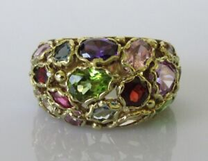 Gold Gemstone Ring - 9ct Yellow Gold Multi Cut Gem Stone Cluster Ring Size M
