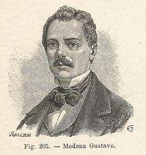 B1430 Gustavo Modena - Incisione antica del 1928 - Engraving