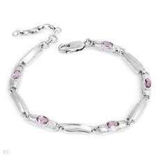 Made in 925 Sterling Silver Lovely Bracelet W/0.75ctw Genuine Amethysts