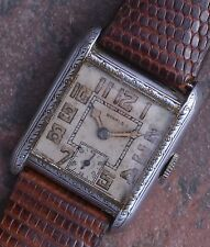 Benrus 20s Vintage Art Deco Radium Dial Running 15j Swiss New Band Parts/Restore