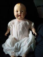 Big Antique vintage old bent leg baby doll composition