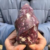 Natural Rubellite flame Shape Quartz Crystal Red Tourmaline Torch Healing 150g+