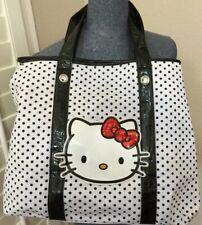 SANRIO Hello Kitty White Tote Bag w/ Polka Dots & Red Sequin Hair Bow 2009 NWoT